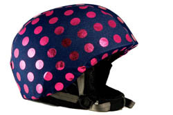 Denim with Hot Pink Dots Helmet Cover
