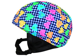 Checked Heart Helmet Cover