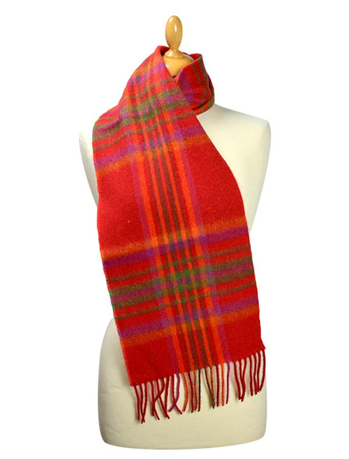 Narrow Lambswool Plaid Scarf - Red Pink Plaid