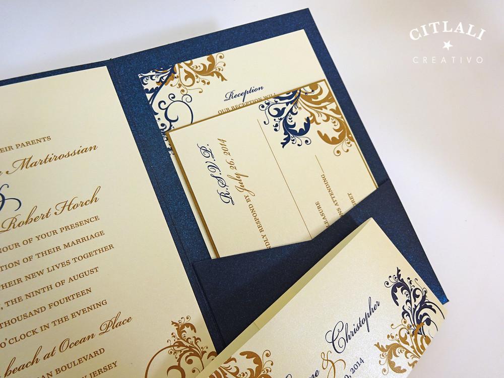 Elegant Wedding Invites Coupon: Antique Gold & Navy Elegant Filigree Swirl / Flourish