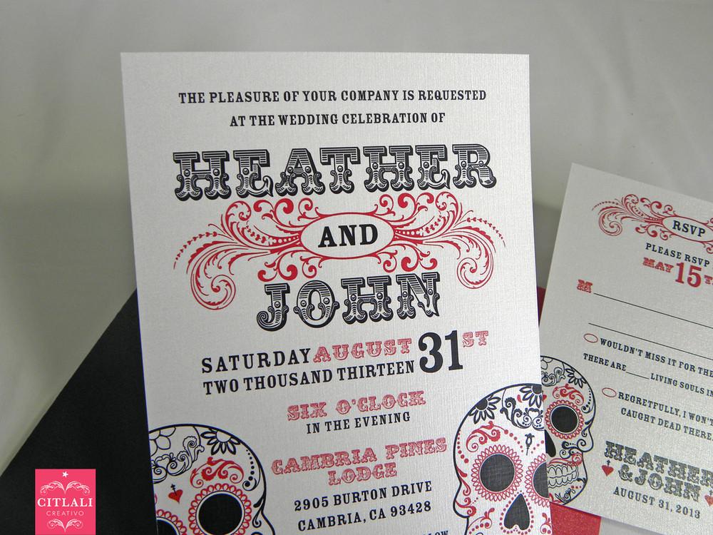 Day Of The Dead Wedding Invitations: Flourish Swirls Day Of The Dead Wedding Invitations
