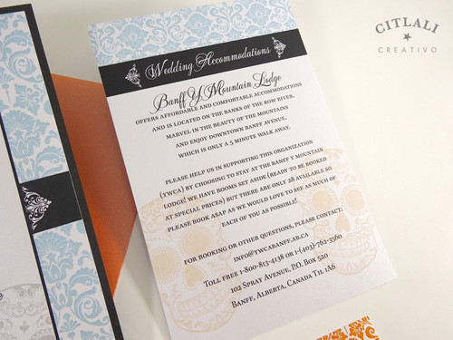 Day Of The Dead Wedding Invitations: Damask Day Of The Dead Skull Wedding Invitation In Bright