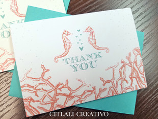 Seahorse Thank You Note Cards