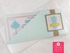 Aquamarine & Glitter Boarding Pass Wedding Invitations in Ticket Sleeve