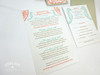 Aqua, Coral & Sand Coral Reef & Seahorses Destination Beach Wedding Invitations in an Aqua pocket folder