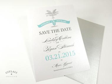 Palm Banner Wedding Save the date - Silver & Aqua