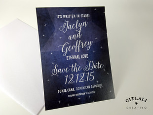Starry Midnight Whimsical Stars Save the Dates