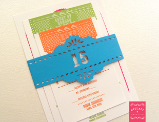 Papel Picado Quinceañera Invitations with custom cut belly bands