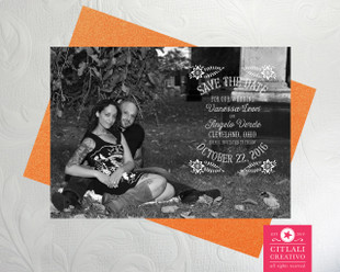 Papel Picado B&W Photo Wedding Save the Dates