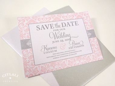 Damask Save the Date in pink & silver