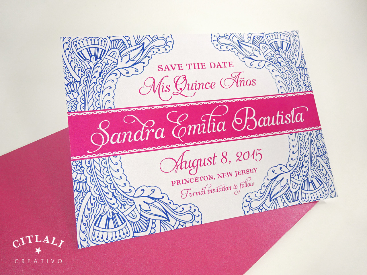 quinceaera floral paisley henna save the date card in hot pink cobalt blue