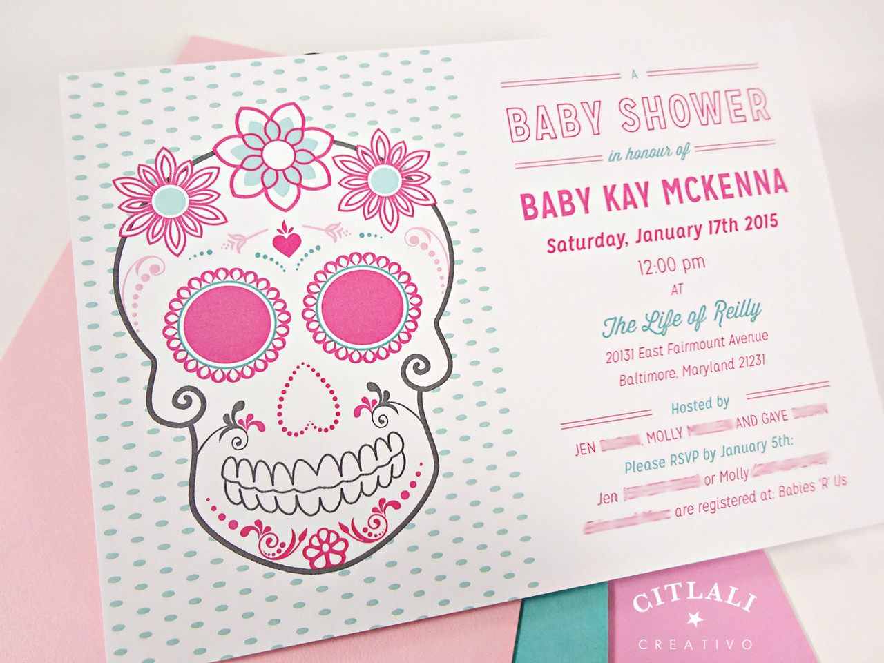 Pink floral sugar skull with roses baby shower invitation citlali floral sugar skull baby shower invitation in pink aqua filmwisefo