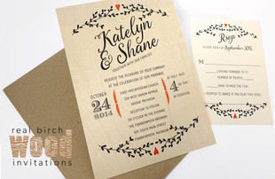 Birch Real Wood Wedding Invitations by citlalicreativo.com with Floral & Heart Motif