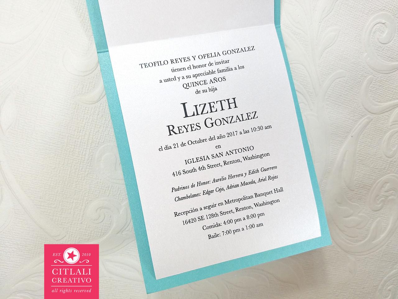 Tiffany Bag Quinceañera Birthday Invitations - Citlali Creativo LLC