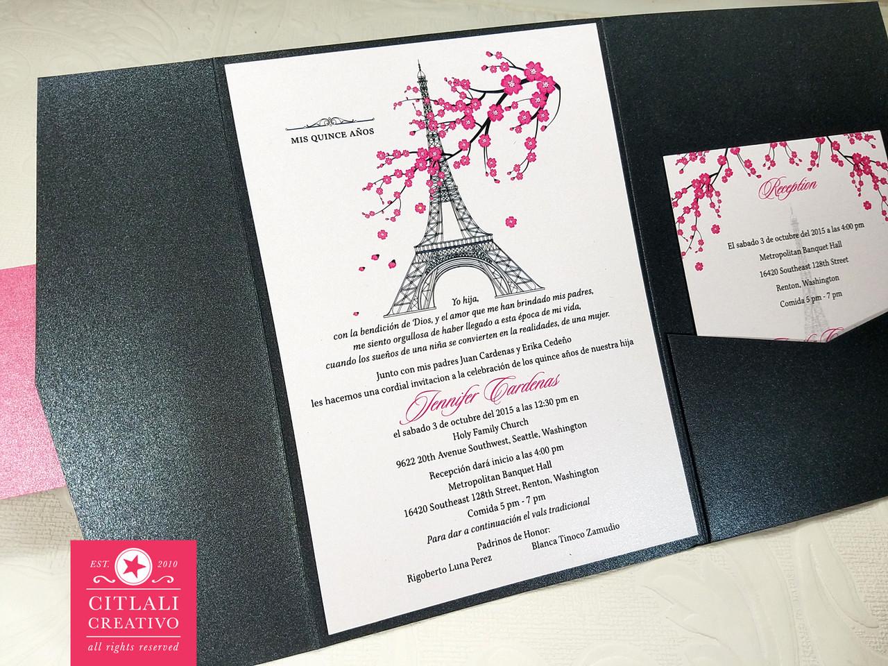 Cherry Blossom Paris Eiffel Tower Quinceañera Invitations - Citlali ...