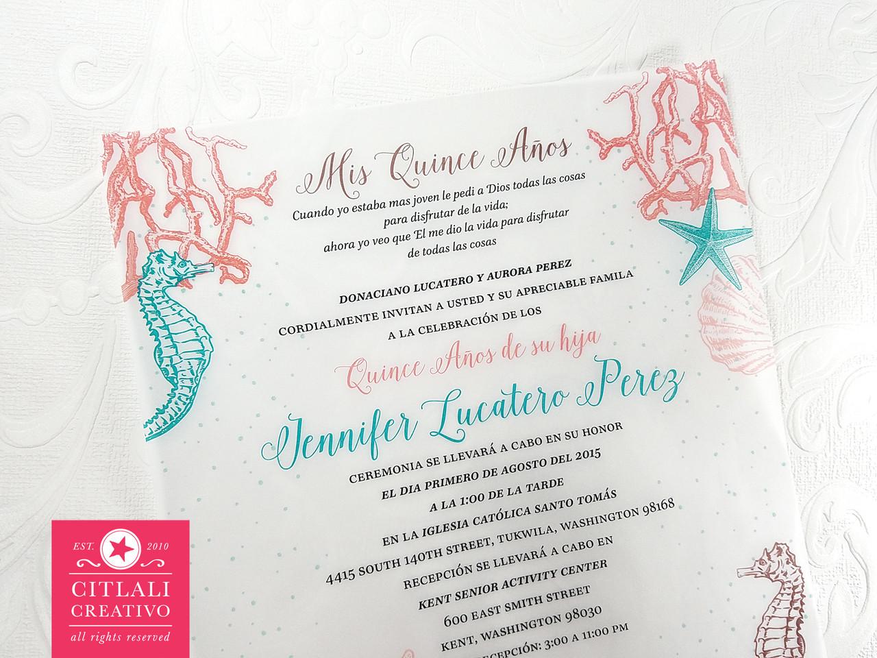 Under the Sea Vellum (Translucent)Quinceañera Birthday Invitations ...
