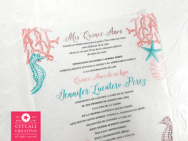 Under the sea vellum translucentquinceaera birthday invitations under the sea theme ocean coral reef starfish seashells seahorses quinceaera birthday stopboris Choice Image