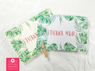 Palm Tree Leaves in Watercolor Thank You Cards