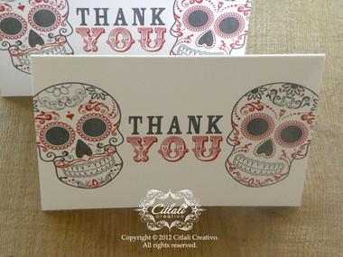 Bold Type Double Skull Thank You / Gracias Folded Card