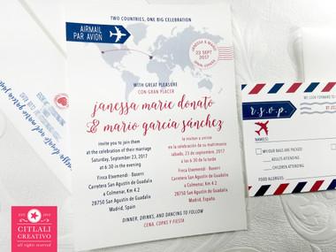 Travel Globe Journey Inspired Wedding Invitations