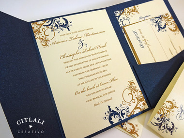 Antique Gold Navy Elegant Filigree Swirl Flourish Pocket Folder