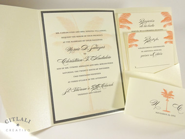 Coral Palm Tree Silhouette Beach Wedding Invitations
