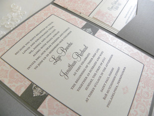 Pink Blush Border Damask Wedding Invitation in metallics