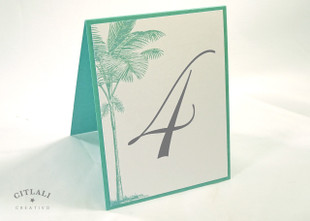 Side Palm Tree Beach Tent Table Number in Aqua & Gray
