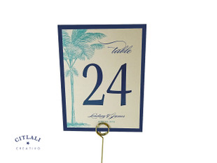 Layered Side Palm Tree Beach Table Number in Aqua & Navy