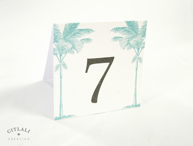 Double Side Palm Tree Beach Tent Table Numbers