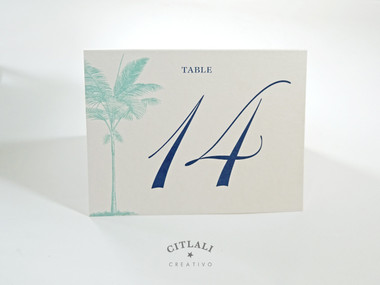 Side Palm Tree Beach Tent Table Number in Aqua & Navy