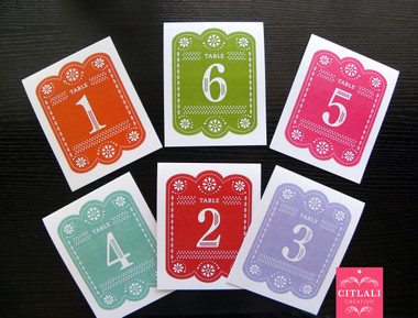 Colorful Papel Picado Table Tent Numbers