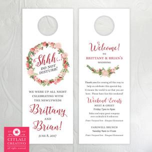 Marsala Floral Wreath Shhh Do Not Disturb Wedding Guest Door Hangers