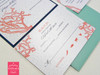 Coral Reef Island Beach Script Monogram Wedding Invitations