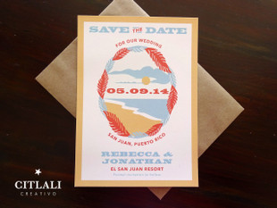Vintage Poster Style Palm Beach Setting Save the dates