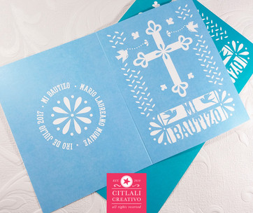 Papel Picado Folded Baptism Photo Invitations