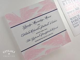 Palm Leaves Beach Square Folded Ceremony Programs