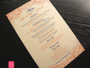 Henna Wedding Menu Cards in Orange & Blue