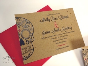 Rustic Kraft Black & Red Large Skull Wedding Invitations