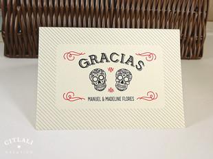 Sugar Skulls Curved Gracias Card Folded