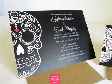 Bold Black Sugar Skull Wedding Invitations - Citlali Creativo LLC