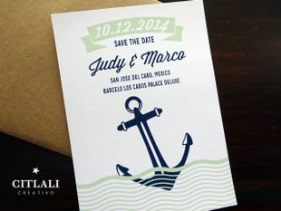 Anchor & Waves Wedding Save the Date Announcements