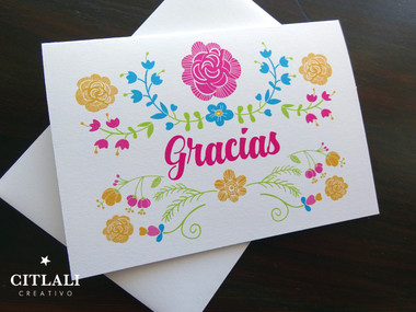 Colorful Garden Floral Gracias or Thank You Cards inspired by Mexican embroidery