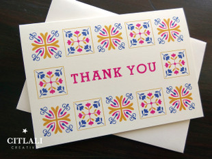 Colorful Talavera Spanish Tile Border Thank You Cards