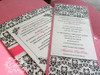Quinceañera / Sweet 16 Damask Petal Pocket folder Invitations – Hot Pink & Black or your colors