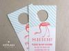 Flamingo Banner Do Not Disturb Striped Wedding Door Hangers