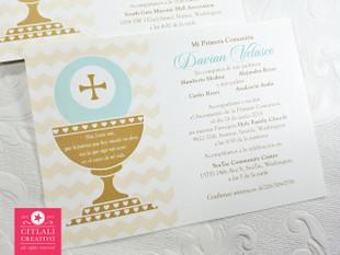 First Communion Chalice Invitation Card - Twin Girls
