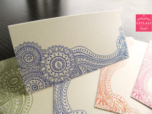 Paisley Henna Tent Place Cards in any colors