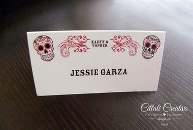 Red & Black Sugar Skull Flourish Tent Style Place Cards