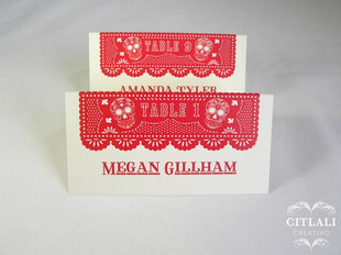 Papel Picado Sugar Skulls Tent Style Place Cards